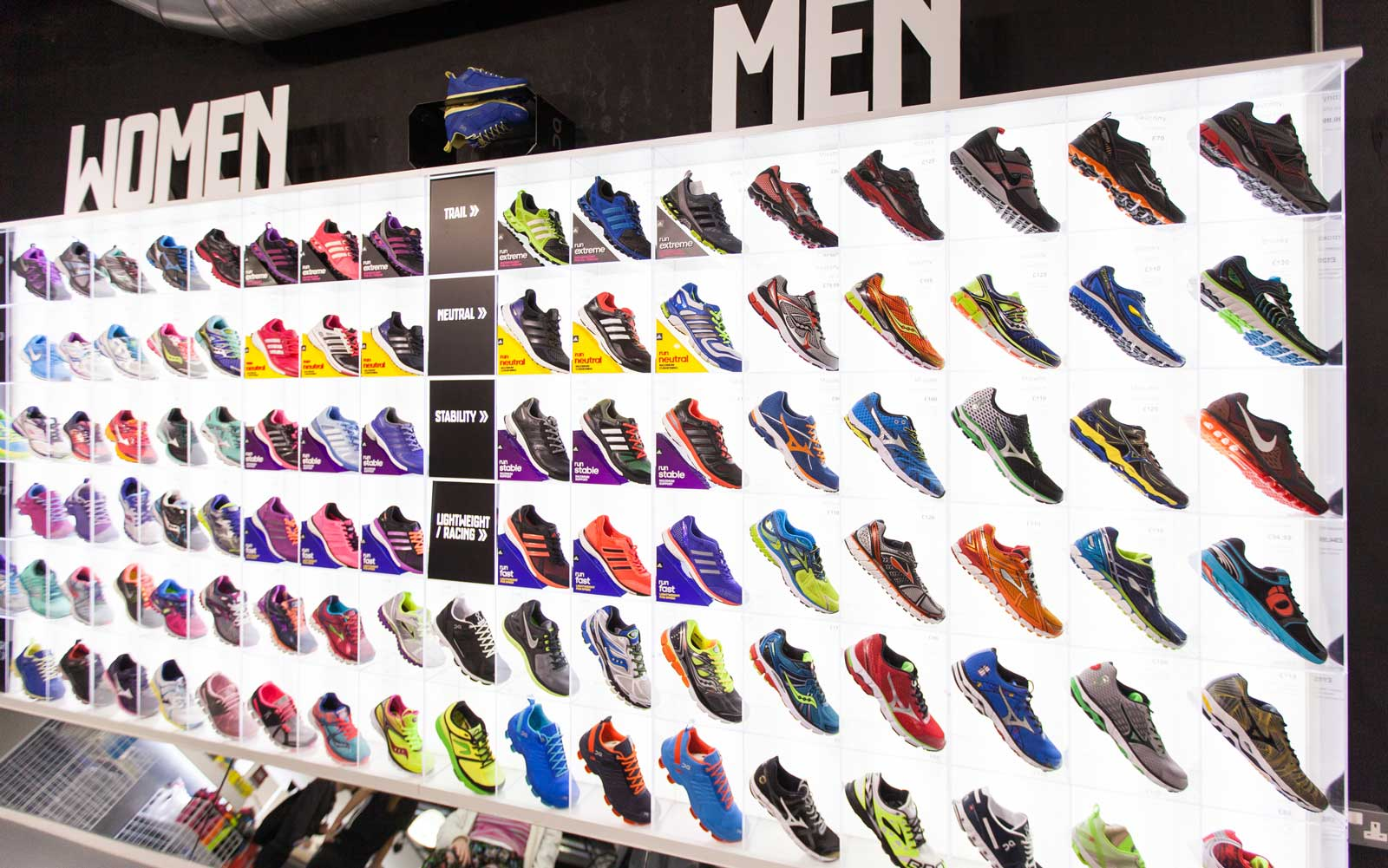 Th running wOrks Shoe wall