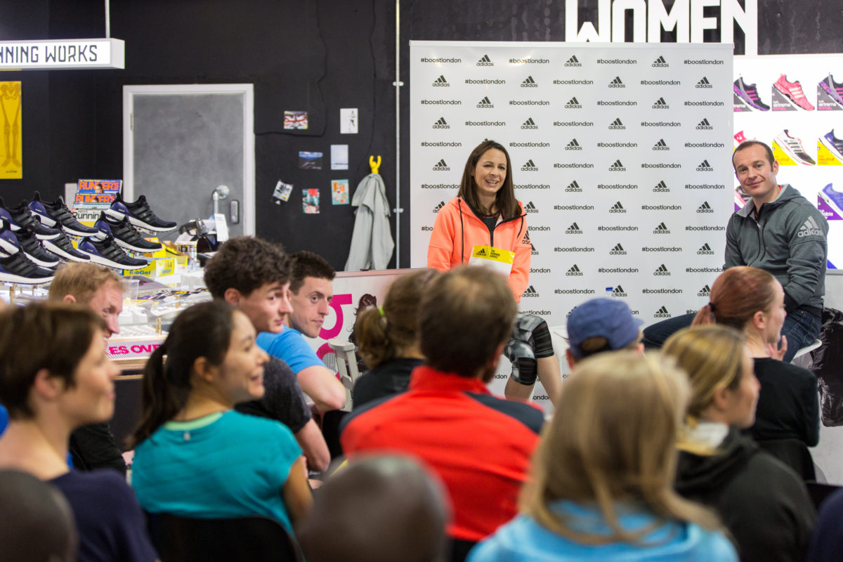 Jo Pavey at the runningworks for adidas event