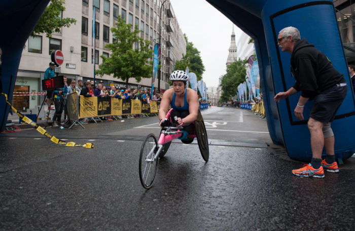 Nikki Emerson storms to victory in the wheelchair race