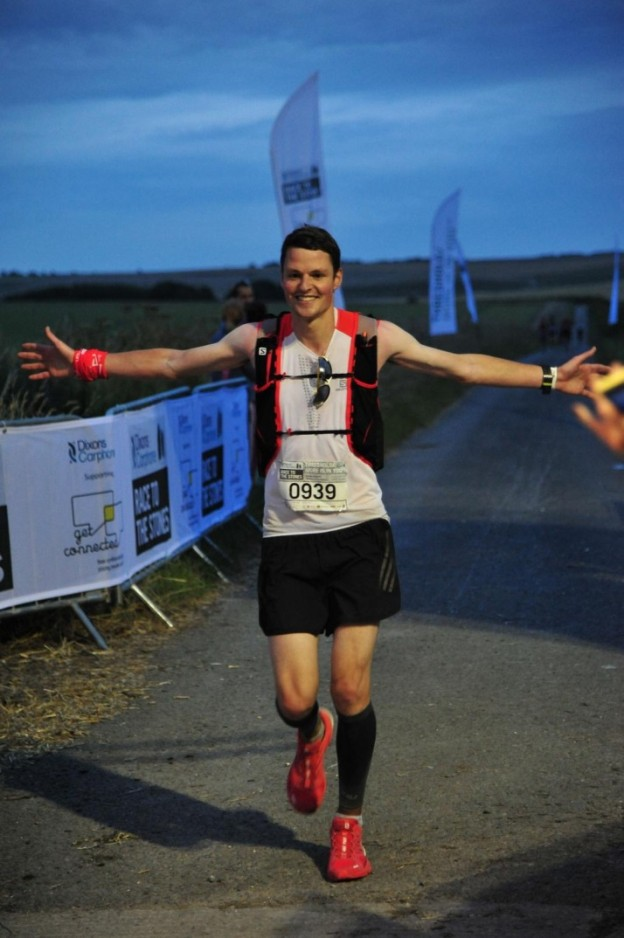 Steve completing his first ultra, Race to the Stones 100k