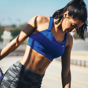 brooks sports bra runner stretching