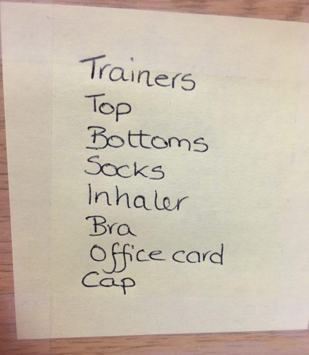 My run commute checklist