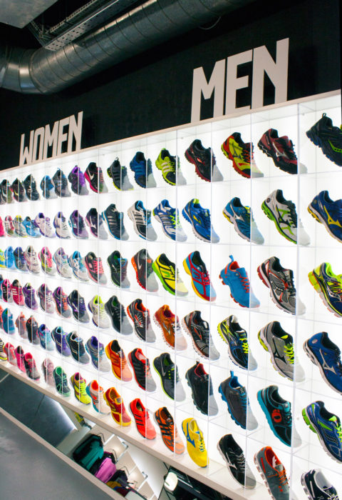 running shoes on display