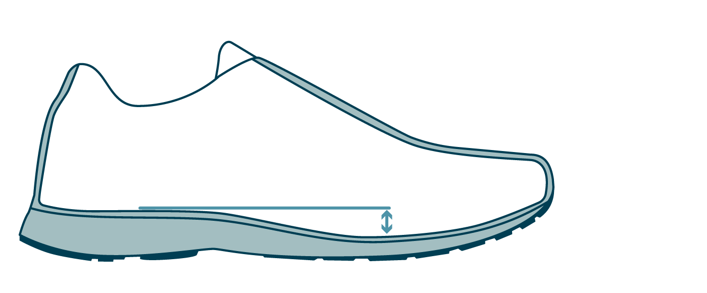Running shoe heel toe drop diagram