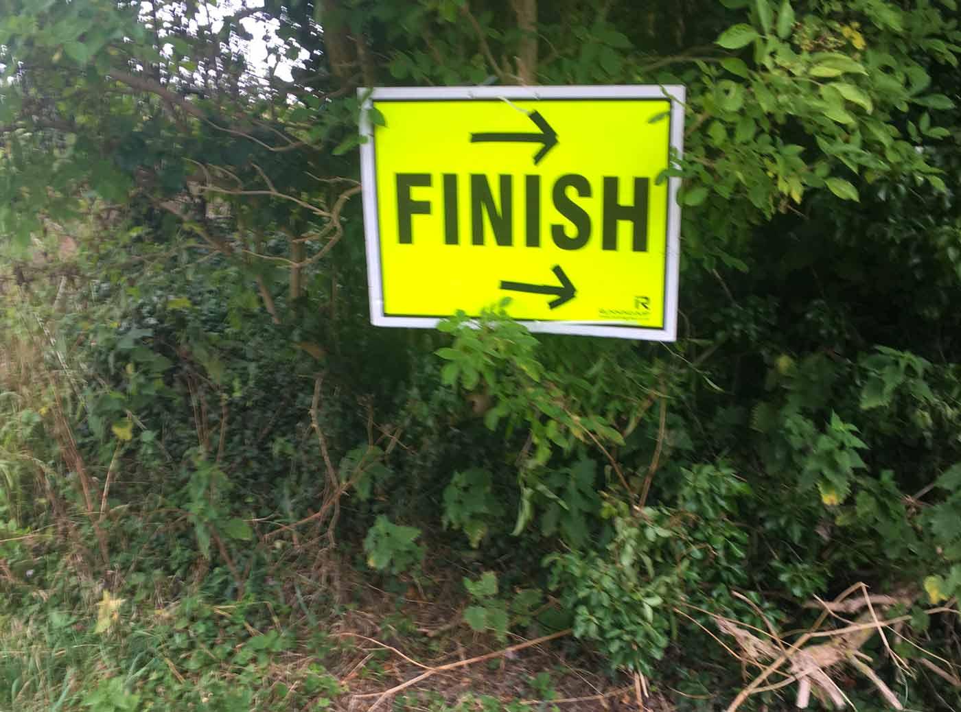 Race finish sign