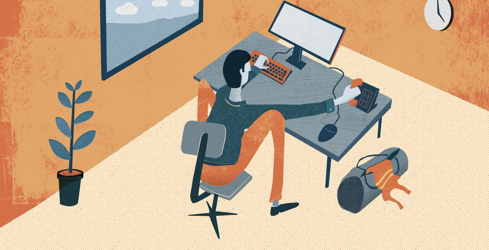 runner sitting with bad posture at office desk