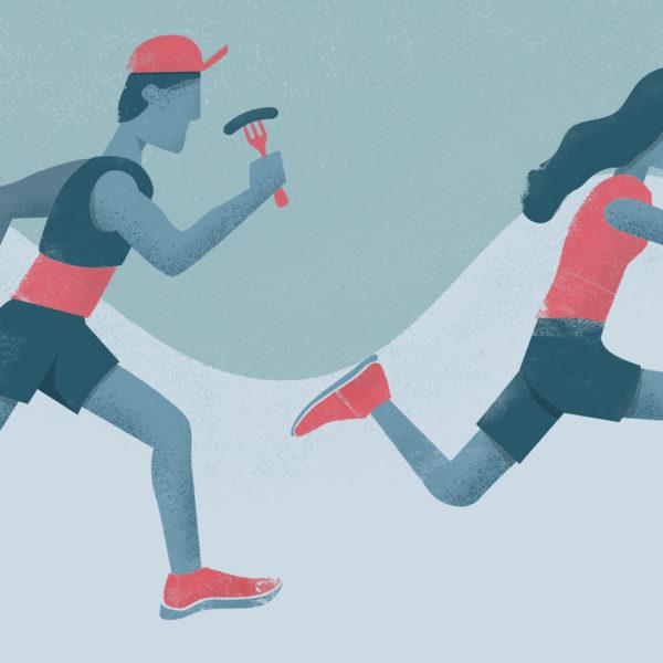 Ultra marathon runners eating
