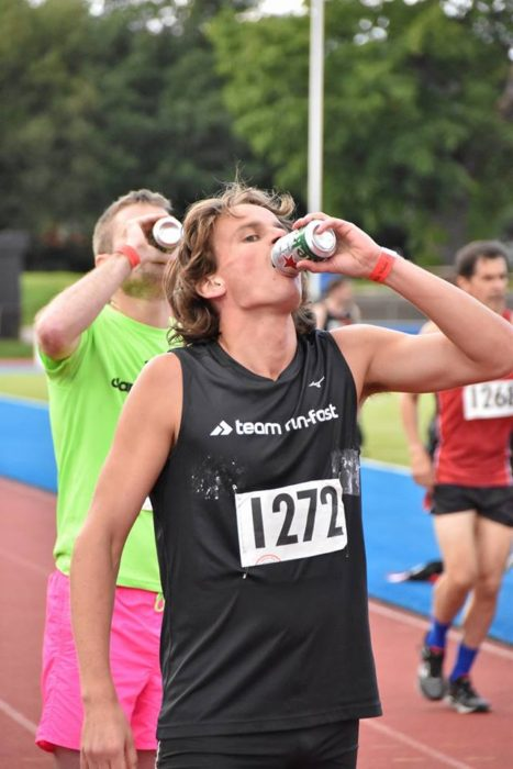 Will showing fine beer-chugging form